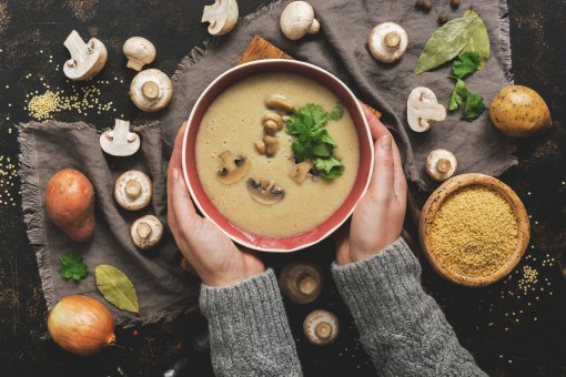Zwei Hände halten eine Schale mit einer Suppe. In dieser befinden sich Pilze und Koriander. Ringsherum sind auf dem Tisch Pilze, Zwiebeln und Gewürze verteilt.