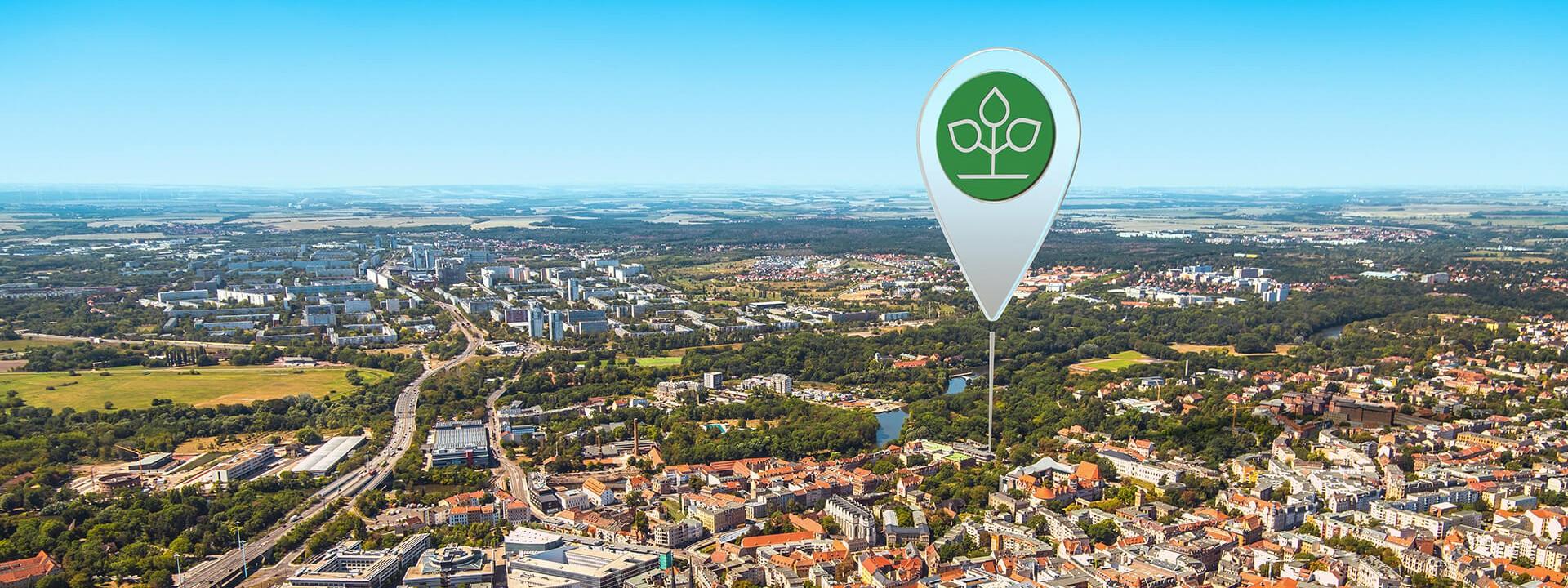 Luftbild von Halle