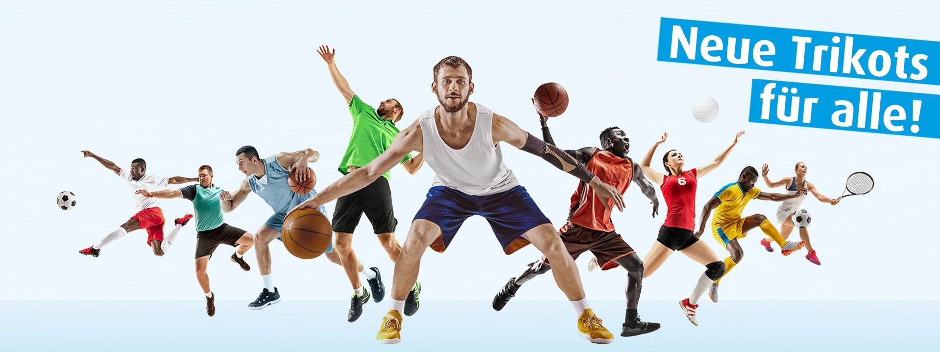 Männer von verschiedenen Sportarten werden abgebildet.