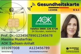 Muster-Versichertenkarte der AOK Sachsen-Anhalt