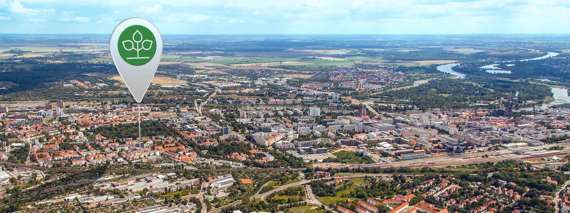 Luftbild von Magdeburg, auf dem das Kundencenter markiert ist