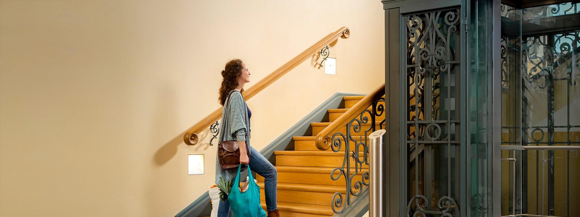 Frau trägt Tüten die Treppe hinauf