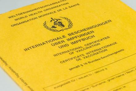 Auf dem Bild befindet sich ein gelber internationaler Impfpass.